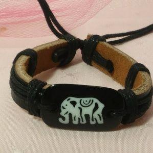Black Leather Elephant Bracelet NWOT
